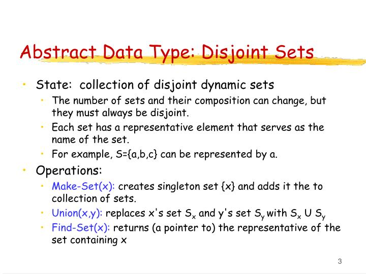 Abstract data type disjoint sets