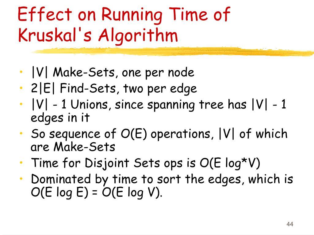 Effect on Running Time of Kruskal's Algorithm