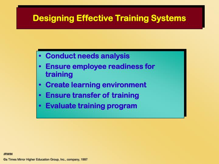 designing effective training systems n.