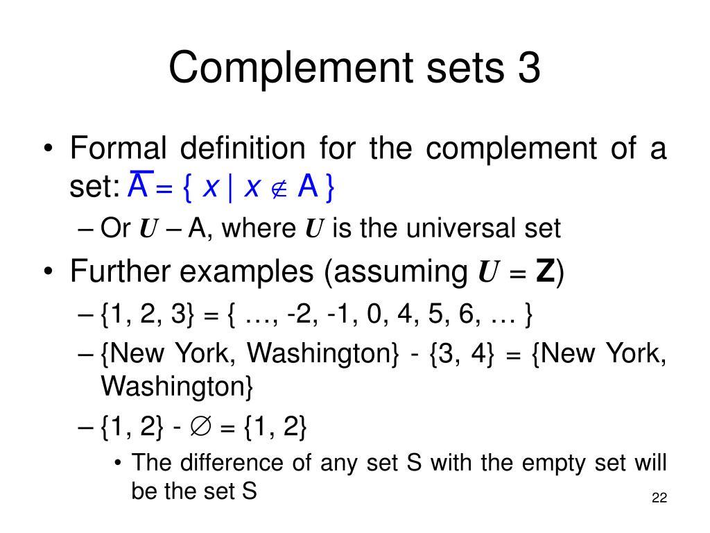 Complement sets 3