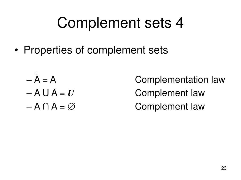 Complement sets 4