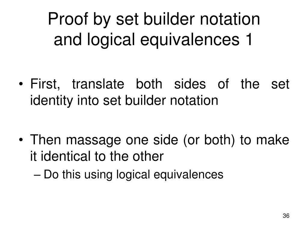 Proof by set builder notation