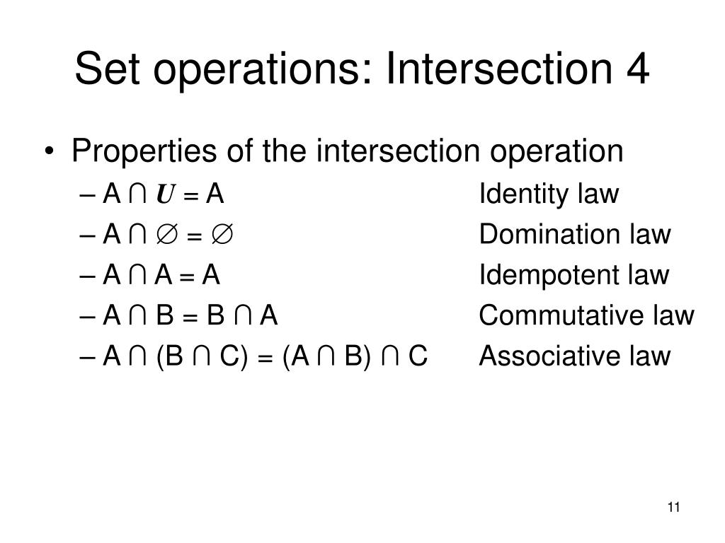 Set operations: Intersection 4