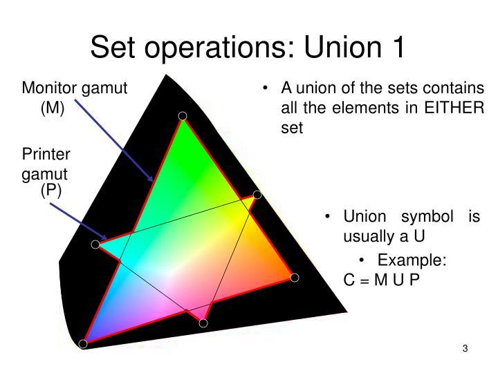 Set operations union 1
