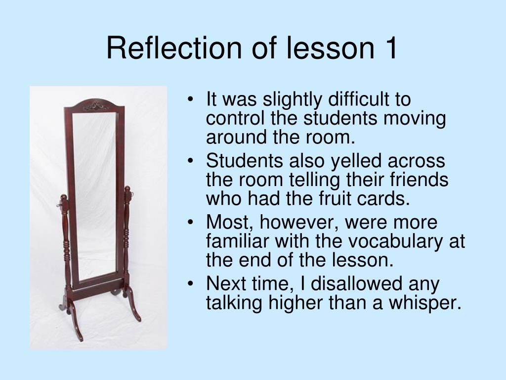 Reflection of lesson 1