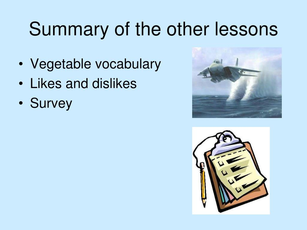 Summary of the other lessons