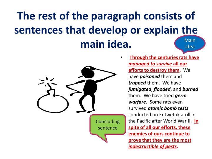 The rest of the paragraph consists of sentences that develop or explain the main idea