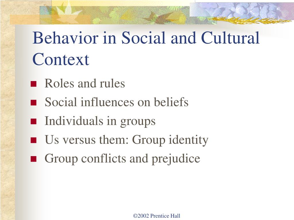 a discussion of culture norms and how it affects persons behavior How size affects group performance  in order to fit in with the culture and their performance norms thus, you might change your behavior due to the norms present  how types of group norms.