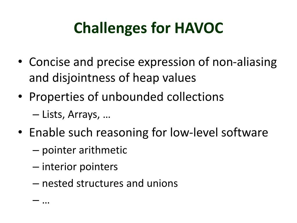 Challenges for HAVOC
