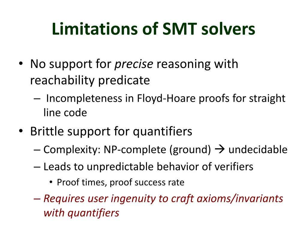Limitations of SMT solvers