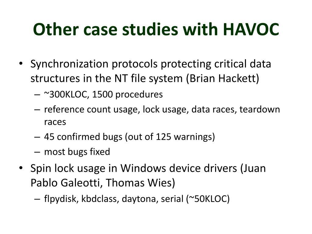 Other case studies with HAVOC