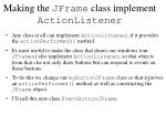 making the jframe class implement actionlistener