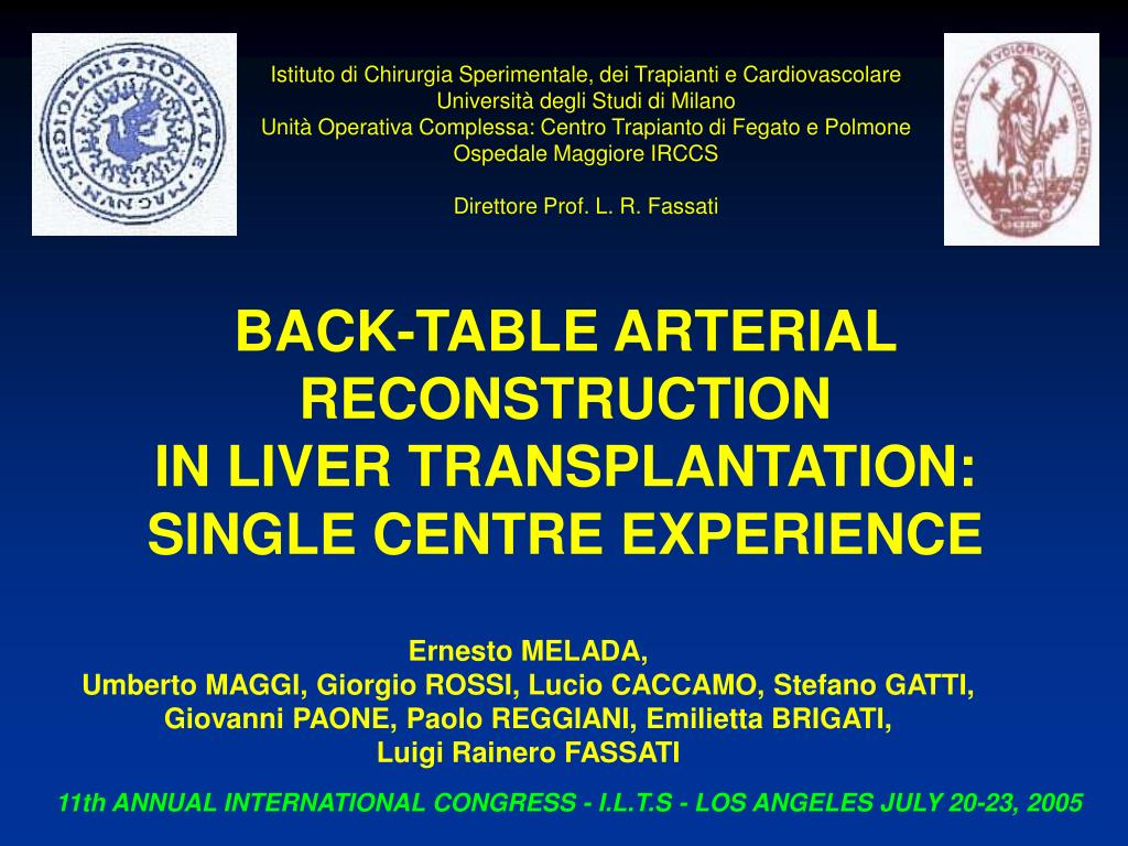 back table arterial reconstruction in liver transplantation single centre experience l.
