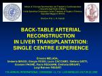back table arterial reconstruction in liver transplantation single centre experience