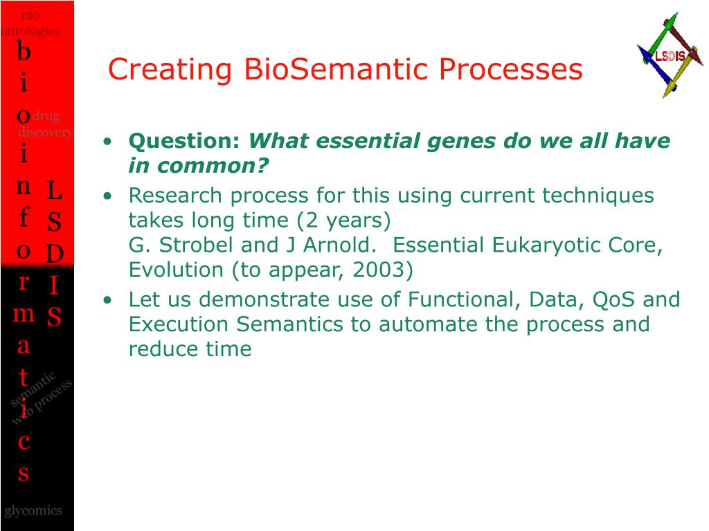 Creating BioSemantic Processes