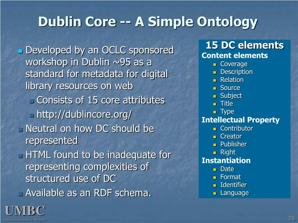 Dublin Core -- A Simple Ontology