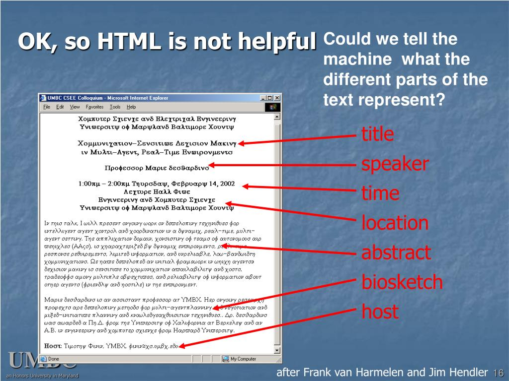 OK, so HTML is not helpful