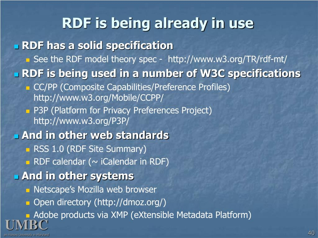 RDF is being already in use