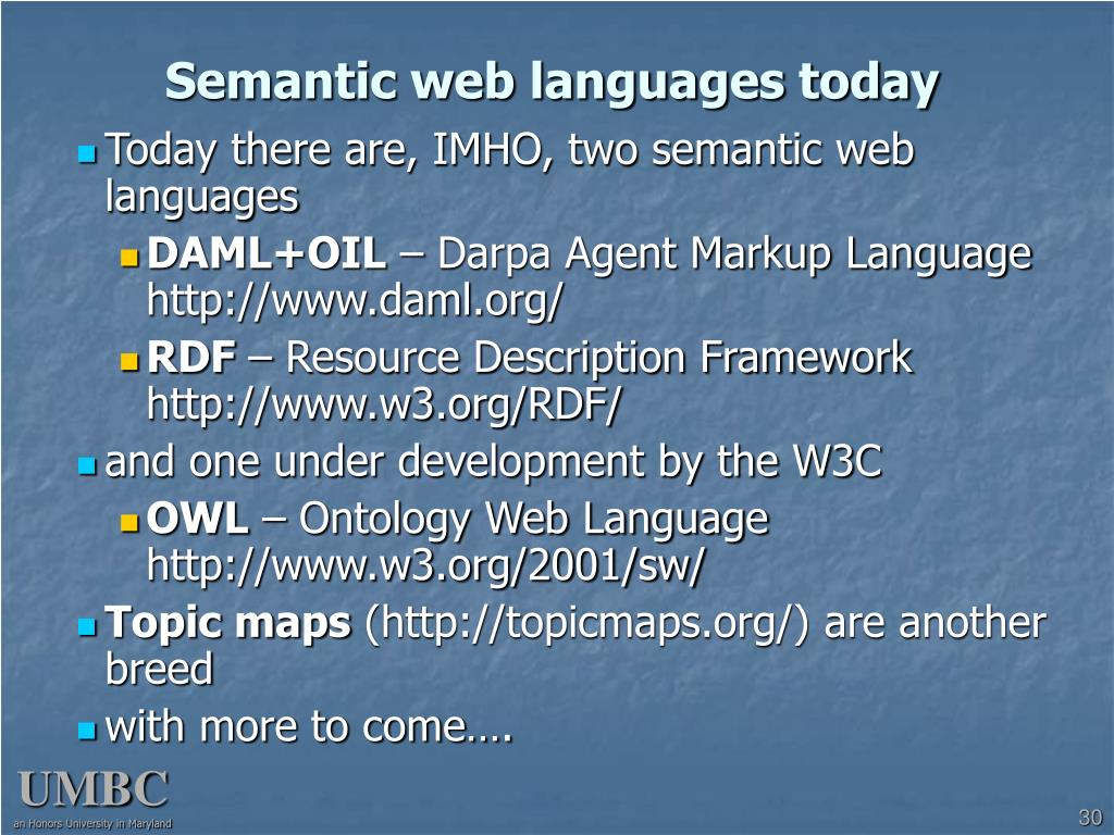 Semantic web languages today