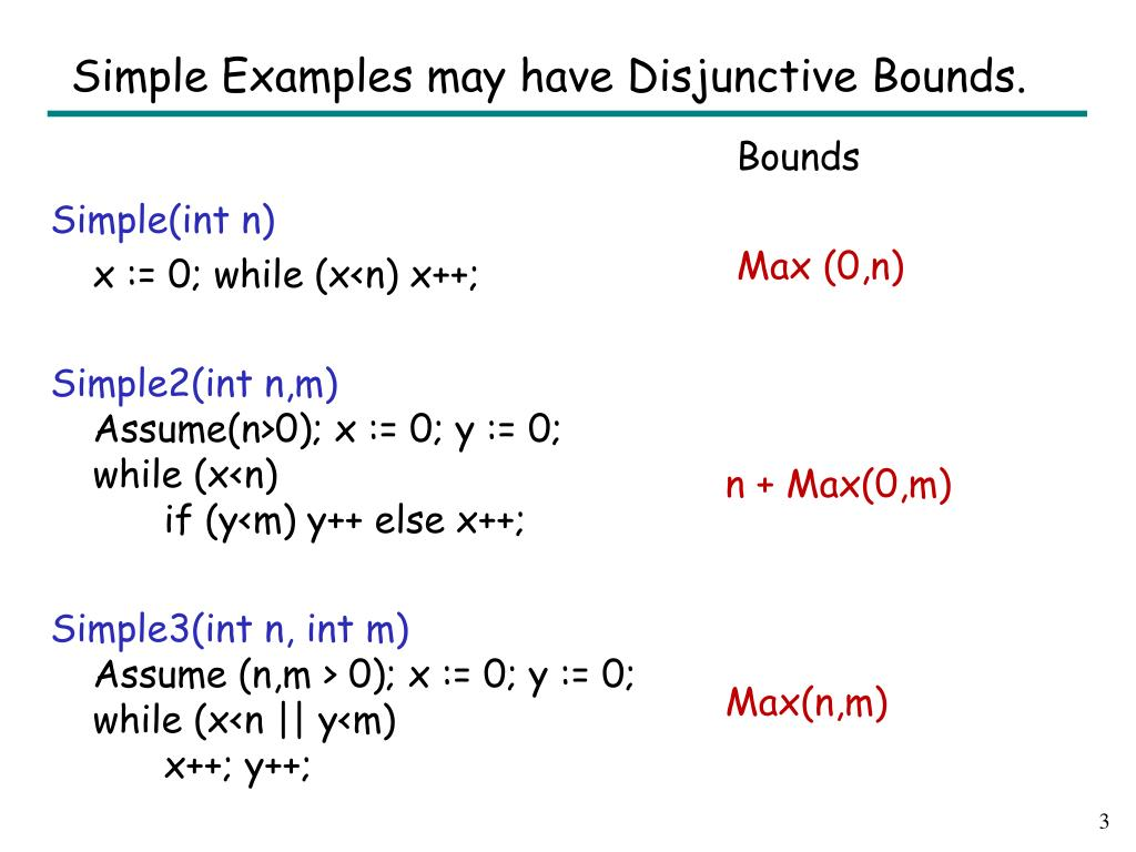 Simple Examples may have Disjunctive Bounds.