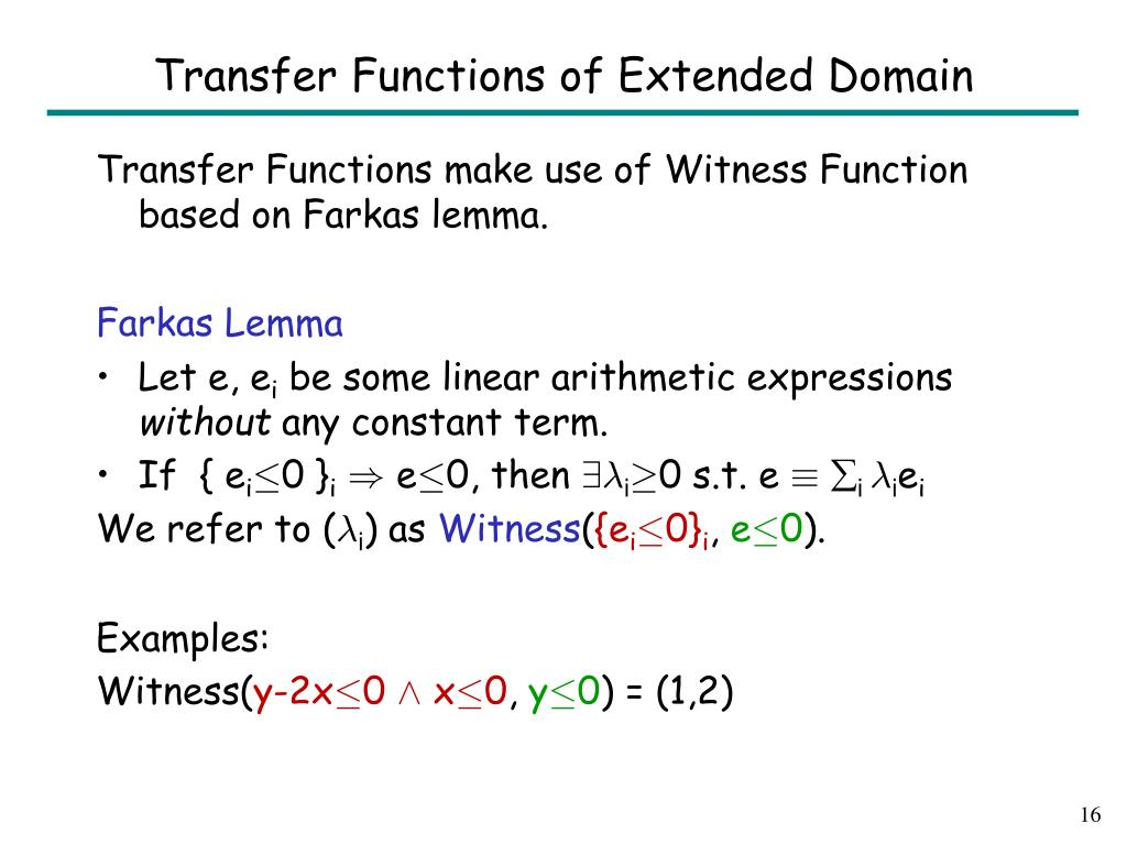 Transfer Functions of Extended Domain