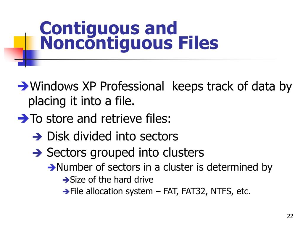 Contiguous and Noncontiguous Files