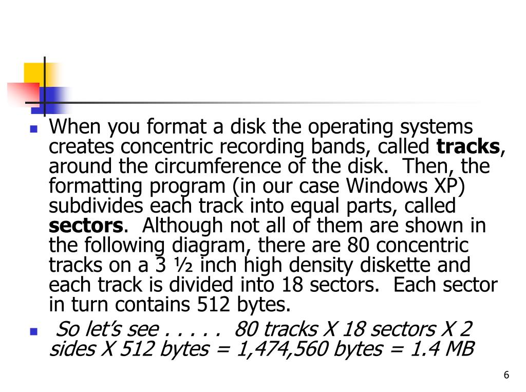 When you format a disk the operating systems creates concentric recording bands, called