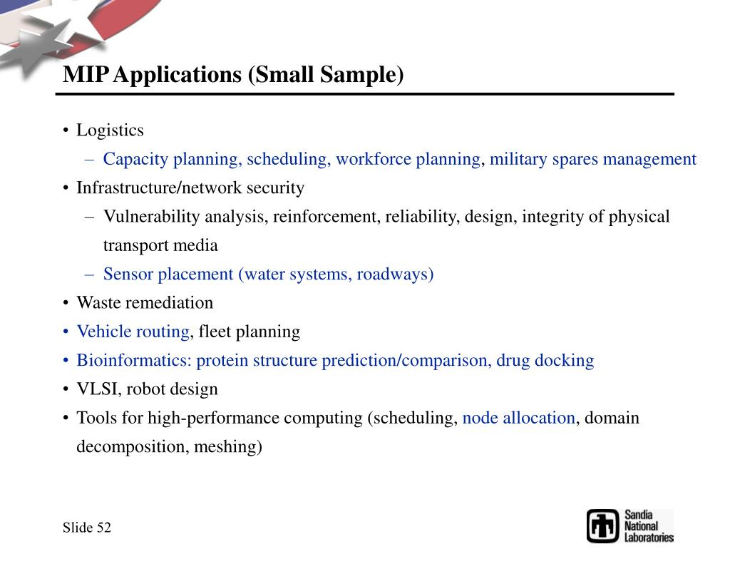 MIP Applications (Small Sample)