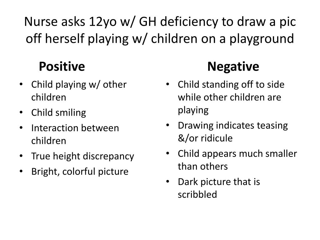 Nurse asks 12yo w/ GH deficiency to draw a pic off herself playing w/ children on a playground