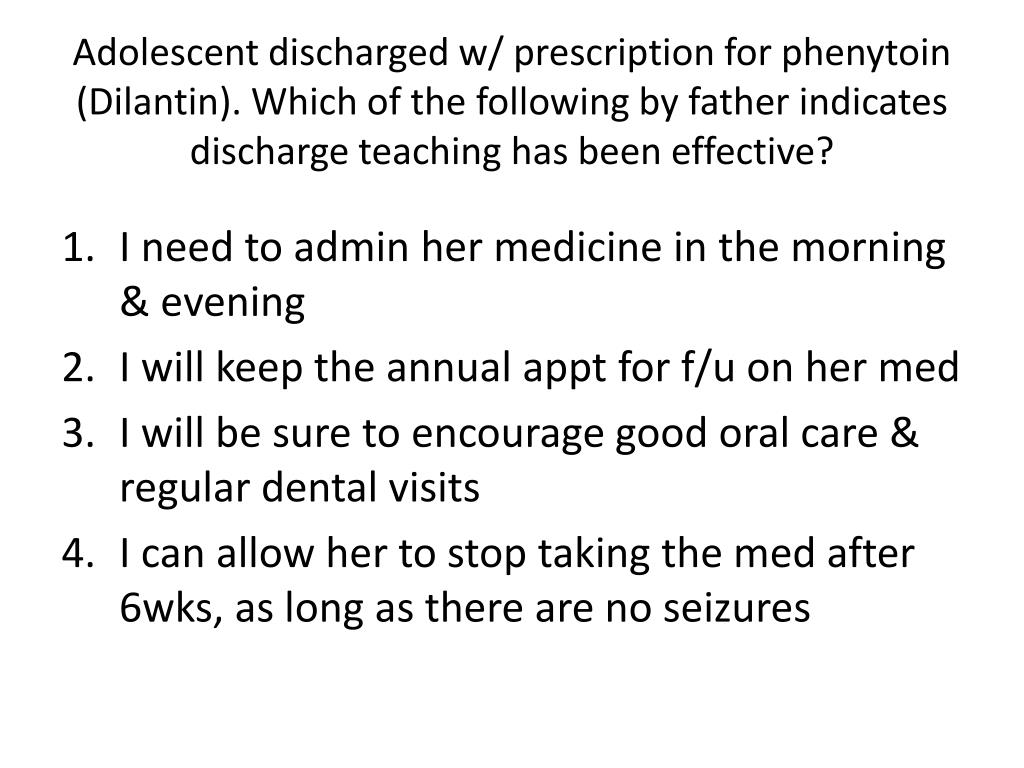 Adolescent discharged w/ prescription for