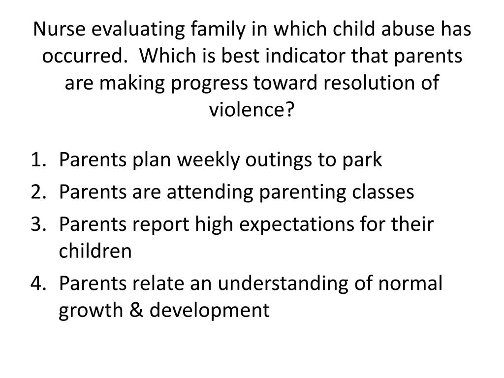 Nurse evaluating family in which child abuse has occurred.  Which is best indicator that parents are making progress toward resolution of violence?