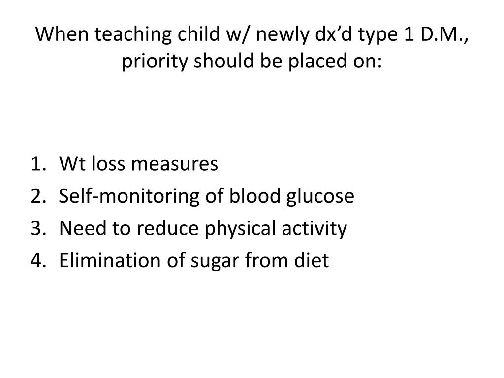 When teaching child w/ newly dx'd type 1 D.M., priority should be placed on: