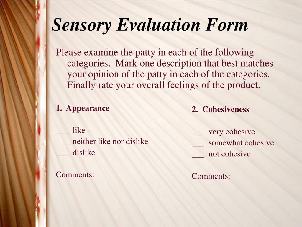 Sensory Evaluation Form