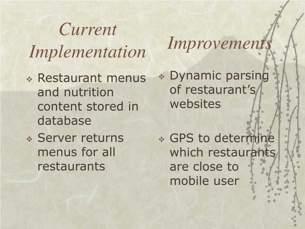 Restaurant menus and nutrition content stored in database