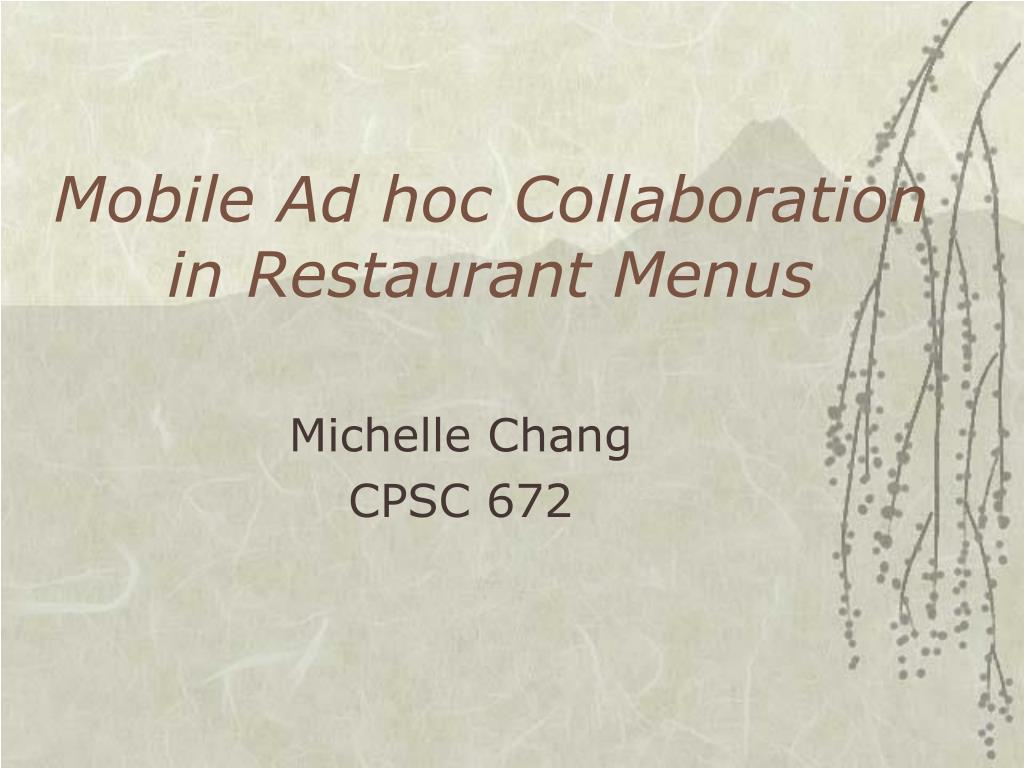 Mobile Ad hoc Collaboration in Restaurant Menus
