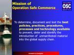 mission of operation safe commerce