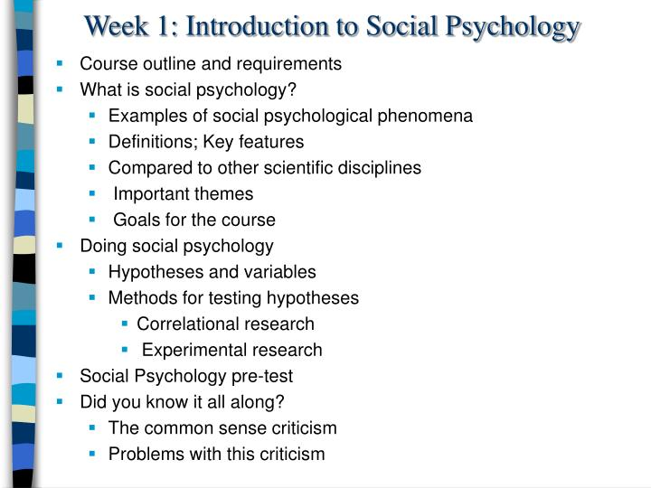 week 1 introduction to social psychology n.