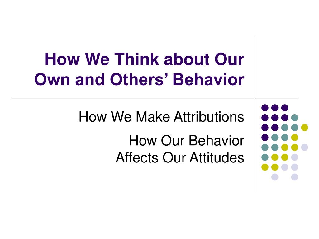 How We Think about Our Own and Others' Behavior