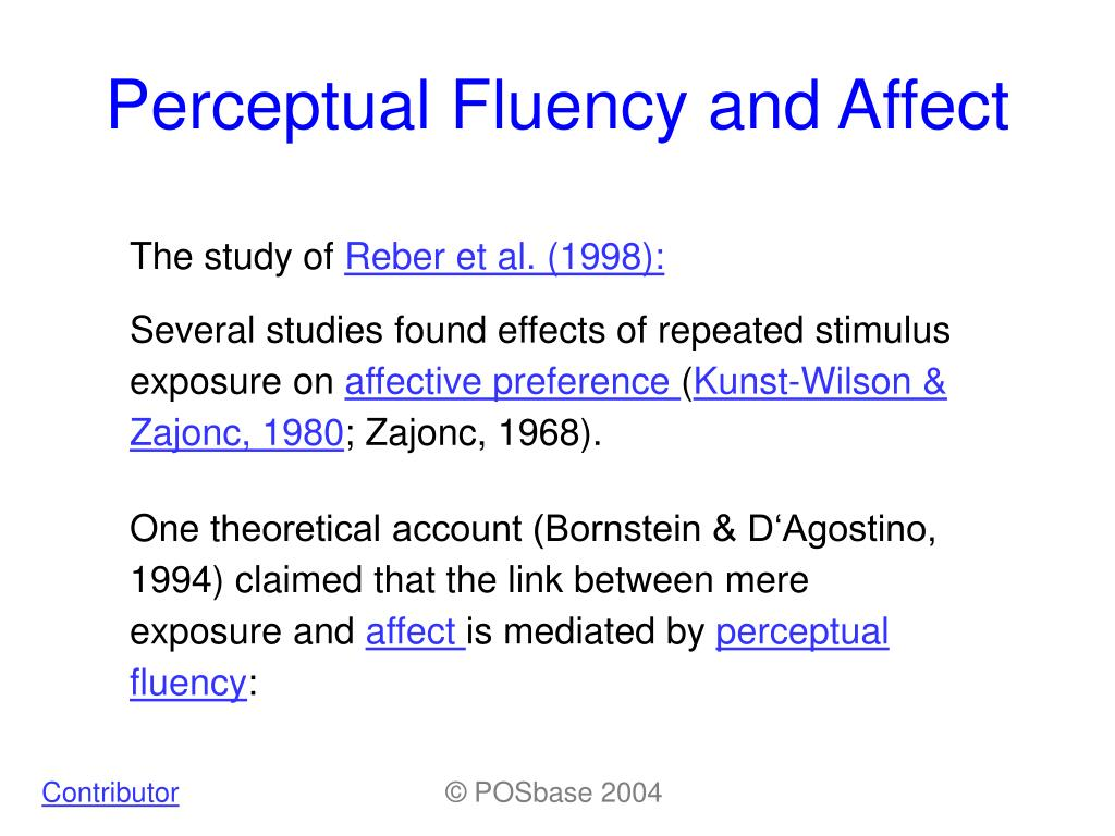 Perceptual Fluency and Affect