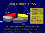 mode of death in picu