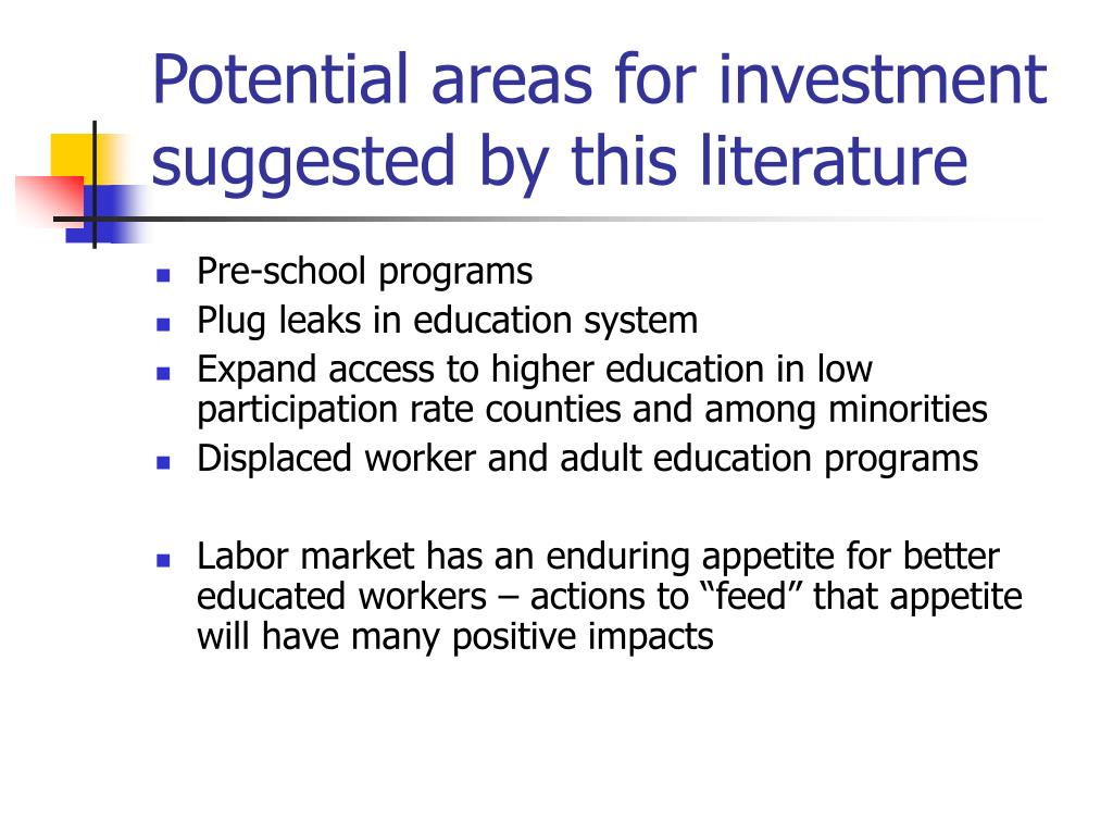 Potential areas for investment suggested by this literature