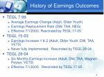 history of earnings outcomes