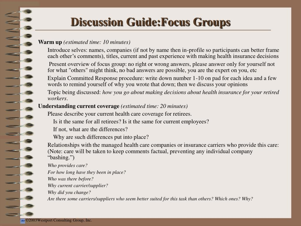 Discussion Guide:Focus Groups