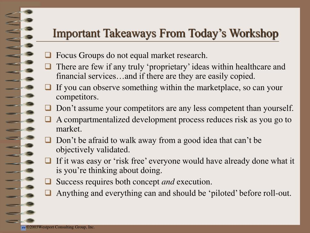 Important Takeaways From Today's Workshop
