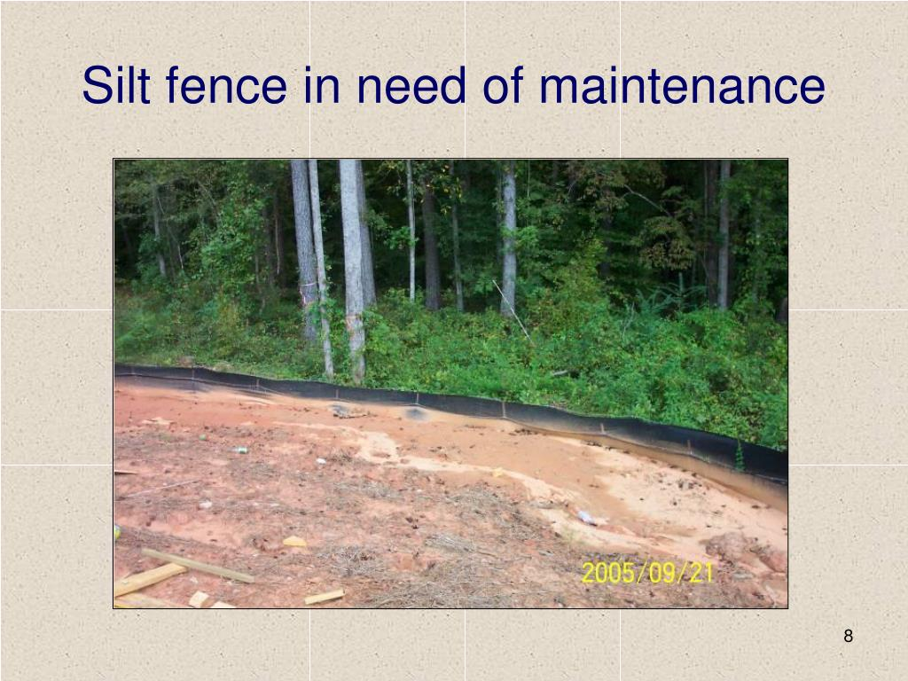 Silt fence in need of maintenance