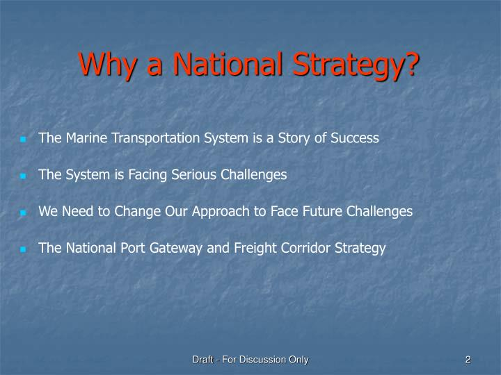 Why a National Strategy?