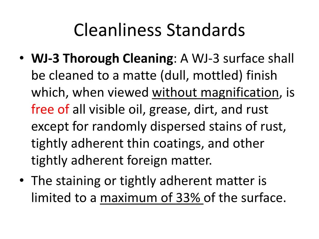 Cleanliness Standards