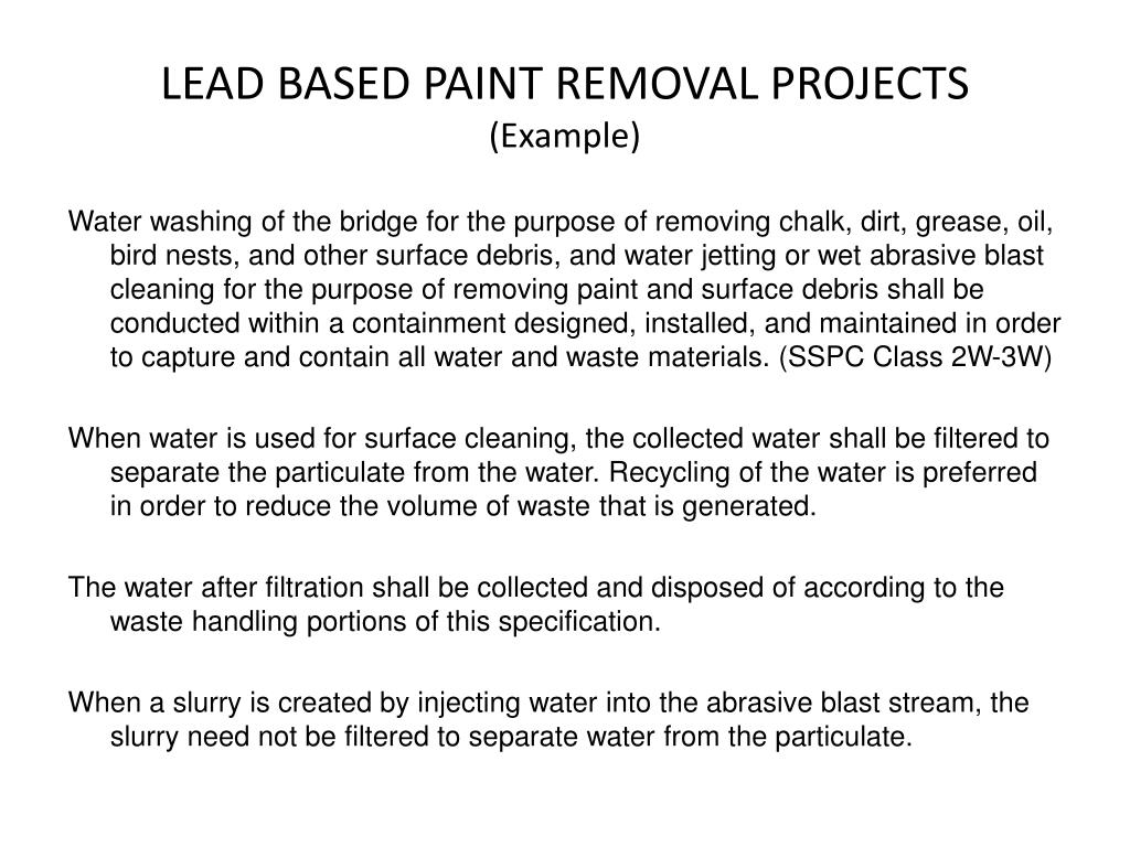 LEAD BASED PAINT REMOVAL PROJECTS