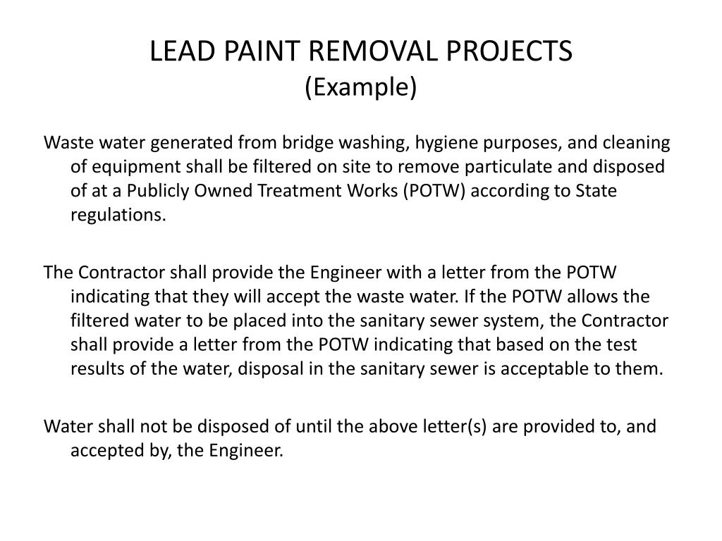 LEAD PAINT REMOVAL PROJECTS