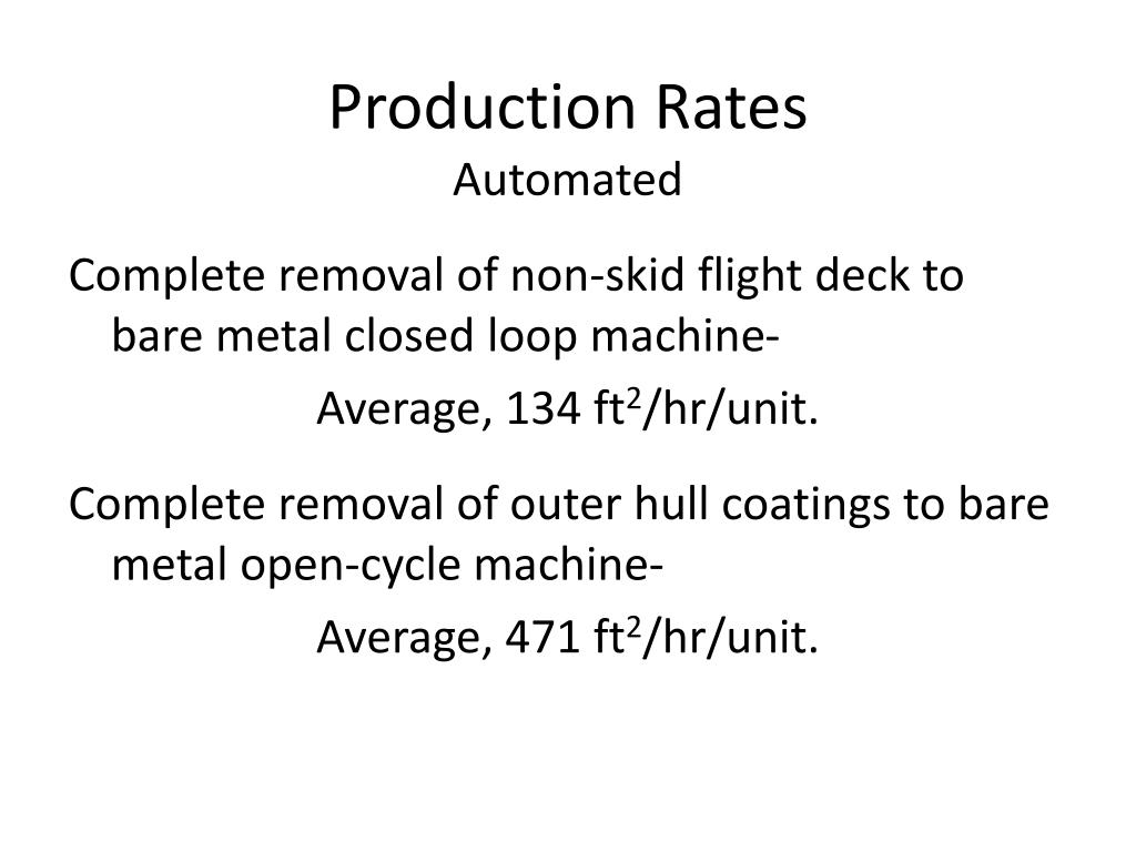 Production Rates